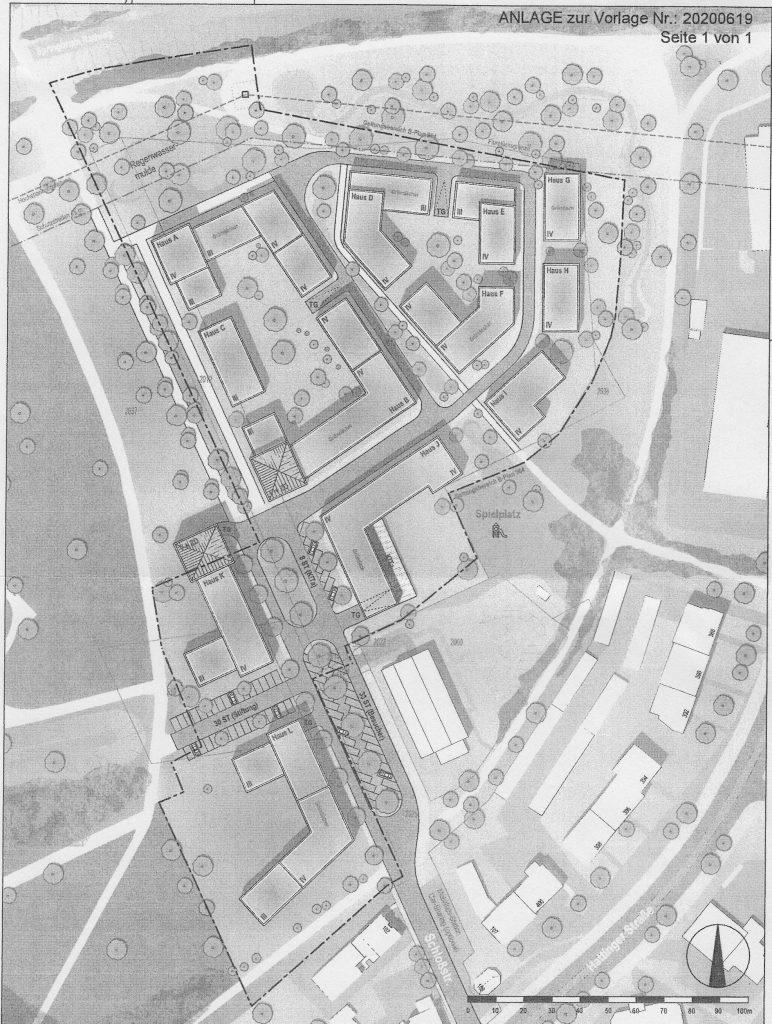 Planskizze zum Bauprojekt am Schlosspark Bochum