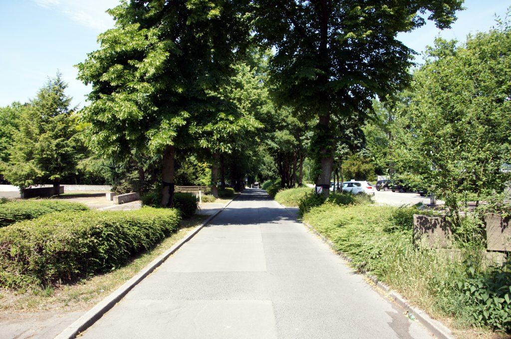 Die heutige Ansicht der Schloßstr. samt Friedhofsparkplatz